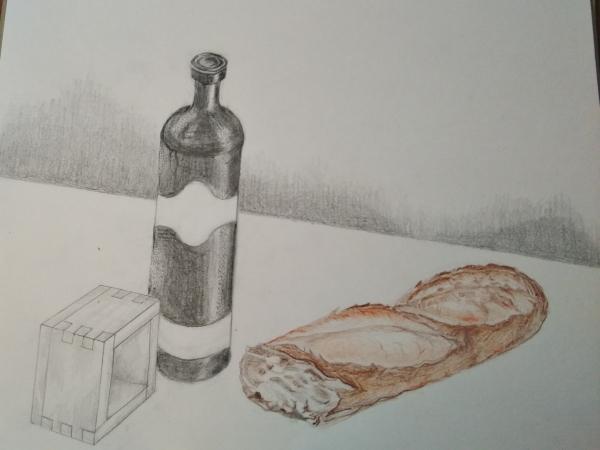 鉛筆画「私の好きな食卓」