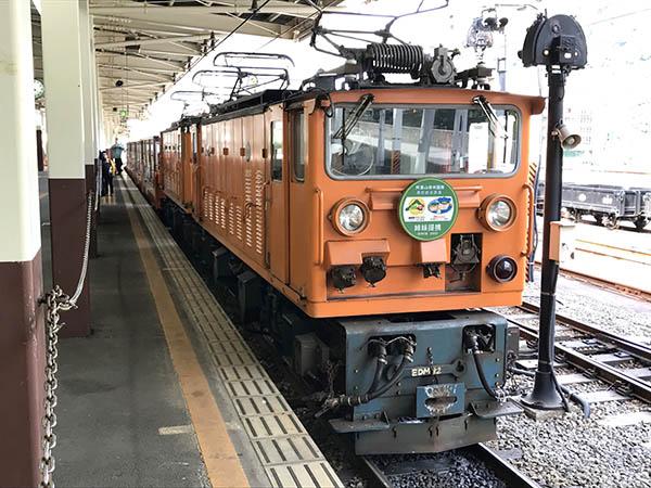 トロッコ電車を牽引する機関車。2両連結され(重連)、13両の客車を引っぱる