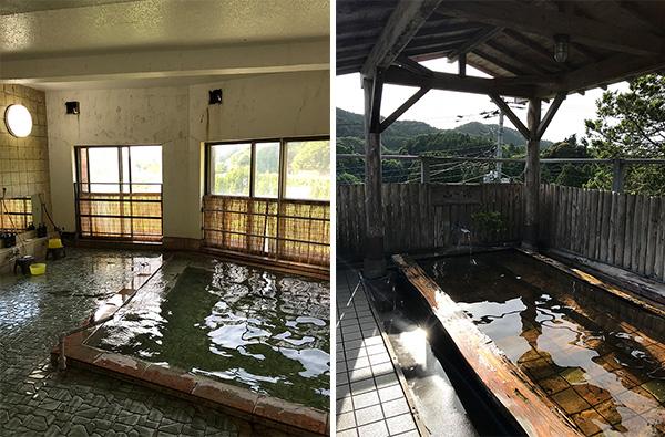 写真・内湯は源泉かけ流しの硫黄泉)(17-2写真・露天は井戸水を沸かしている)