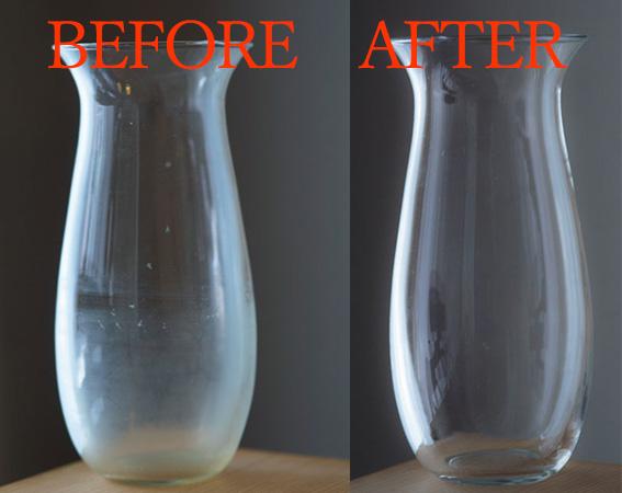 花瓶のガラスの曇りをオキシウォッシュで取る