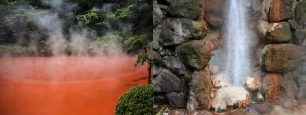 左:血の池地獄(国指定名勝) 右:龍巻地獄(国指定名勝)