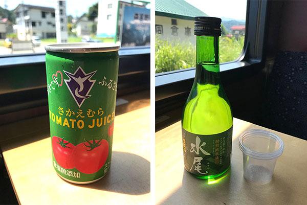 車内販売されている奥信濃の地酒「水尾」