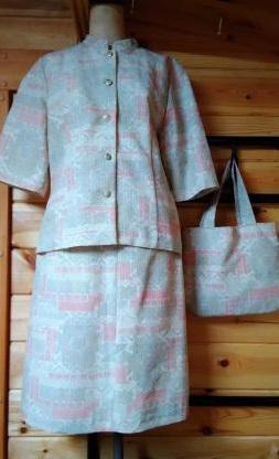 サマーウールの着物で作った半袖スーツと鞄
