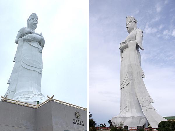 (左) 魚藍観音 釜石大観音(右)千葉県富津市にある東京湾大観音)