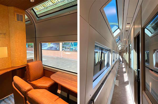 (左)1〜6人で利用できるグリーン個室(右)個室2・3号車の廊下