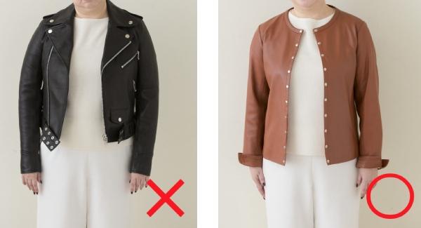 一般的なレザージャケット(左)はハードすぎて上品さに欠けるので、やわらかな革と襟のないデザイン(右)で女性らしく。