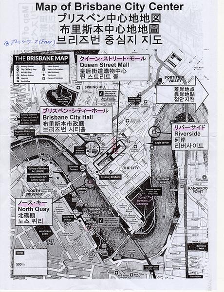 ブリスベン中心部の地図