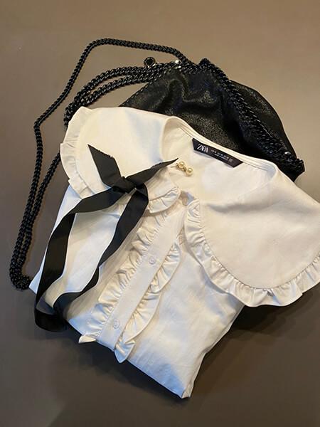 大きい襟のガーリーなシャツとのレイヤードコーディネイト使用アイテム