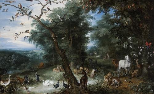 ヤン・ブリューゲル(父)《堕罪の場面のある楽園の風景》