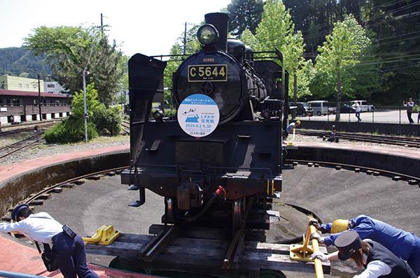 転車台に乗った蒸気機関車を回して方向転換