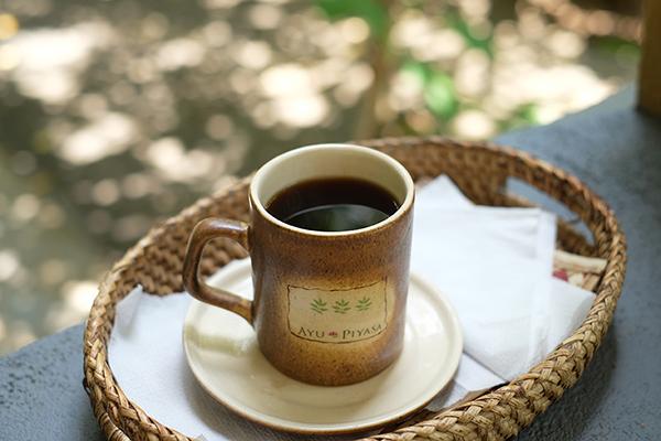 トリートメント後にはコリアンダーのお茶を