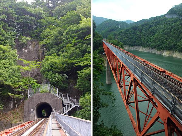 左/レインボーブリッジの上の歩道 右/階段の途中からの眺め