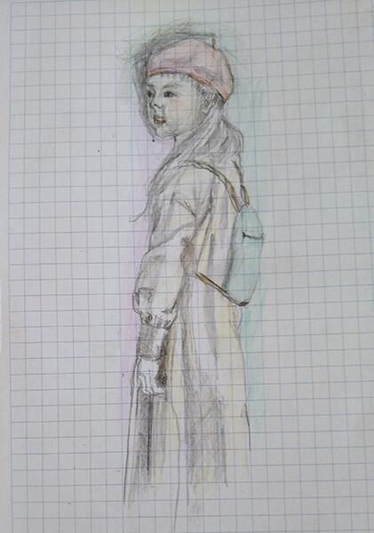 女の子のスケッチ(色鉛筆画)
