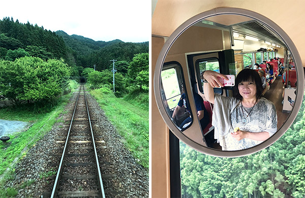 線路が続いているのは当たり前ではないことを噛み締める)(13-2写真・車内の鏡に映った自分を自撮り