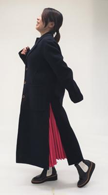 低身長ファッションロングコート編スリット付き