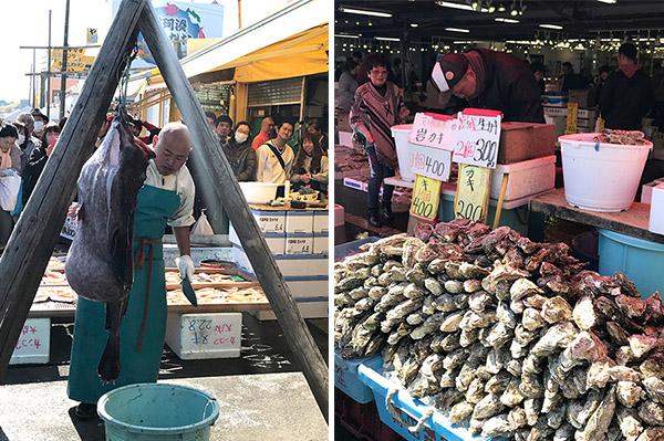 (左)あんこうの吊るし切り(右)生牡蠣がその場で食べられる