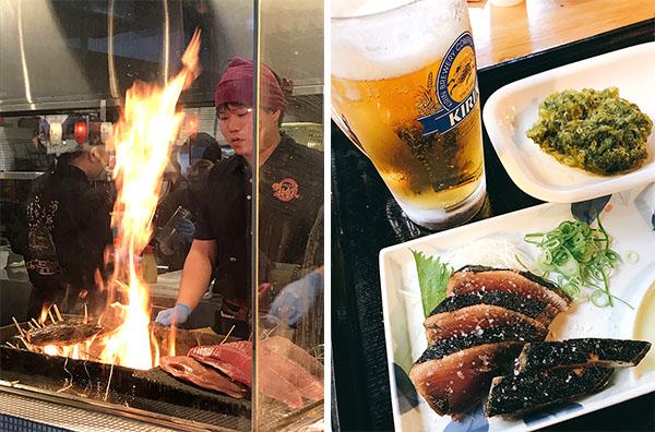 わら焼き鰹たたきの明神丸)(11-2写真・塩たたきと青さのりの天ぷら