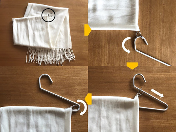 洗濯ばさみ&スラックス用ハンガーで、ずり落ちを防げます