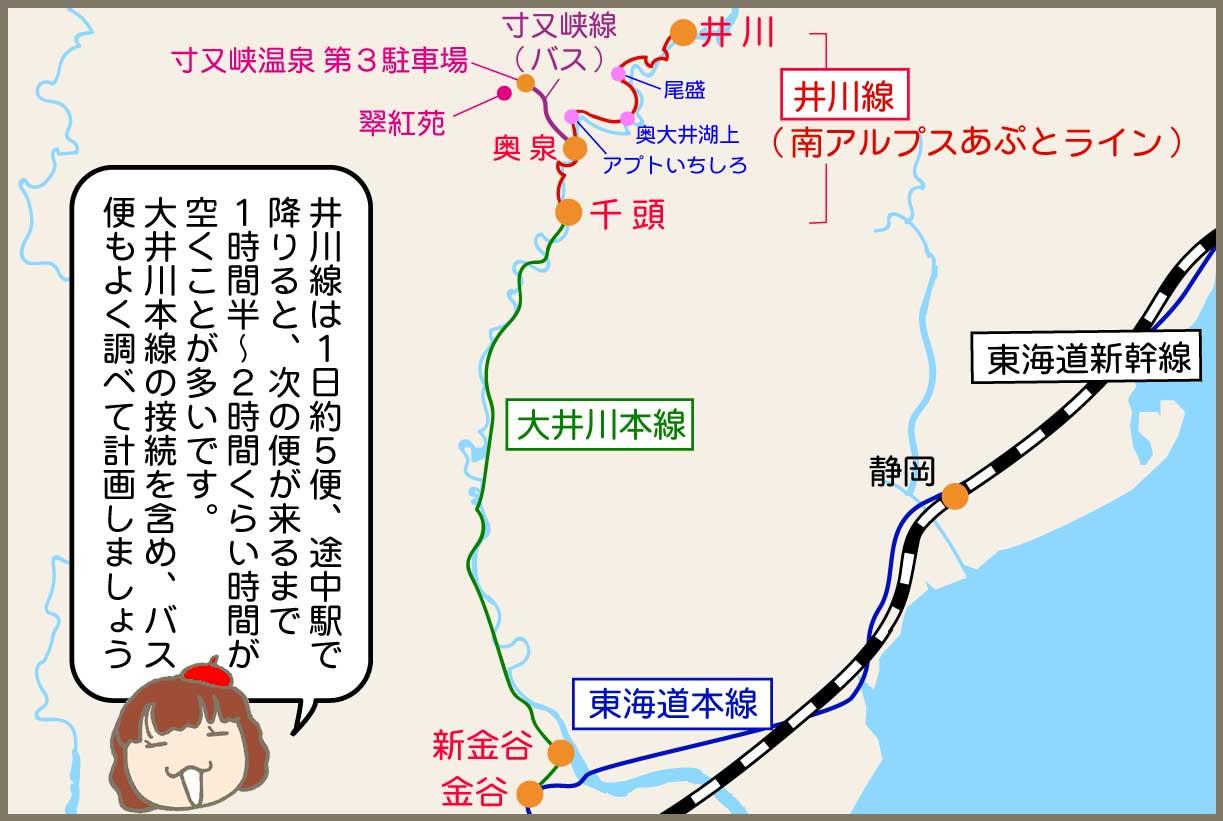 大井川鐵道1日めのルートはこちら!