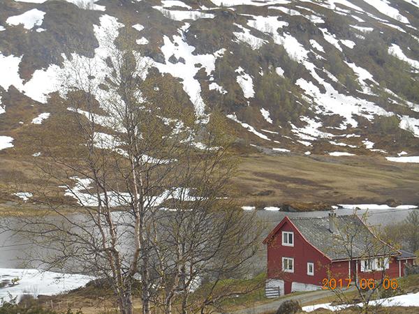 ベルゲン鉄道から見える残雪の山と村の家