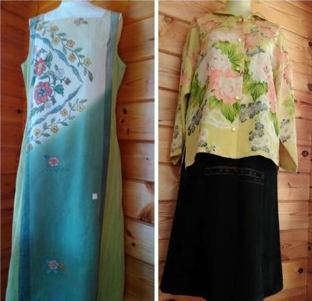 夏帯で作ったワンピース(左)とブラウスジャケット(右)。スカートは急きょ、無地の布と組み合わせて完成