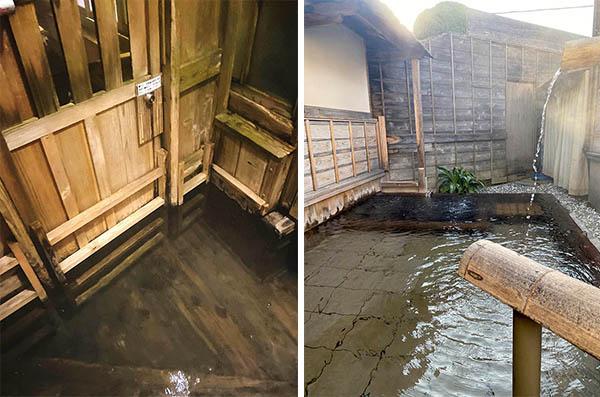(左)キ千人風呂への入り口(右)女性用露天風呂もある